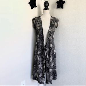 Black and Tan Abstract Print Duster size S